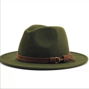 Accessories - 1 LEFT‼️Fall Olive Green Felt Wide Brim Hat
